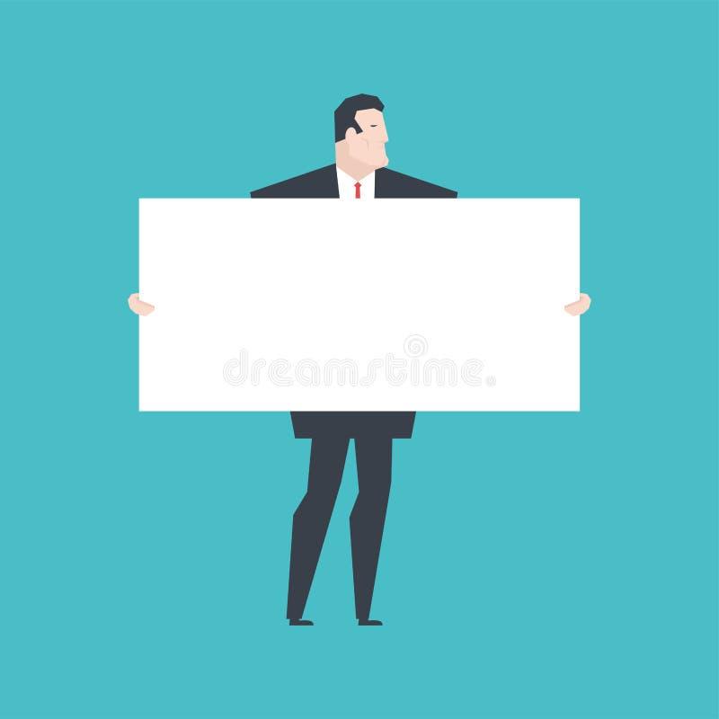 белизна удерживания бизнесмена знамени Босс держит чистый лист офис иллюстрация штока