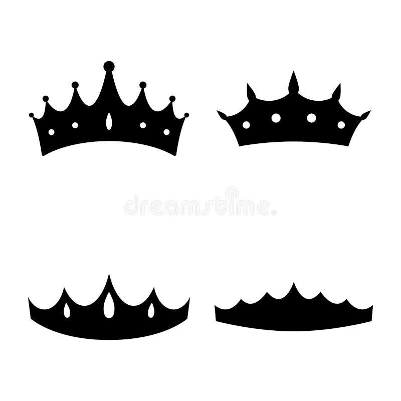 белизна ферзя изолята кроны предпосылки Принцесса Diadem Значки кроны также вектор иллюстрации притяжки corel Плоский стиль иллюстрация штока