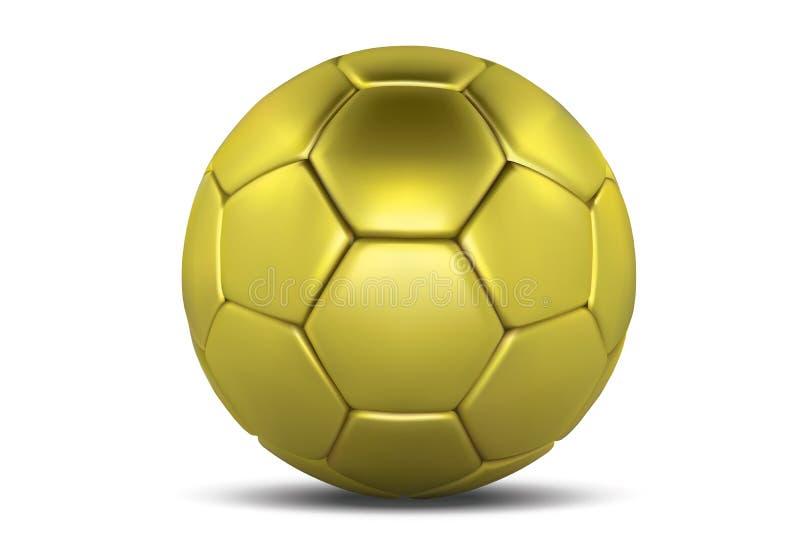 белизна футбола шарика предпосылки изолированная золотом футбол шарика золотистый Шарик футбола 3d иллюстрация штока