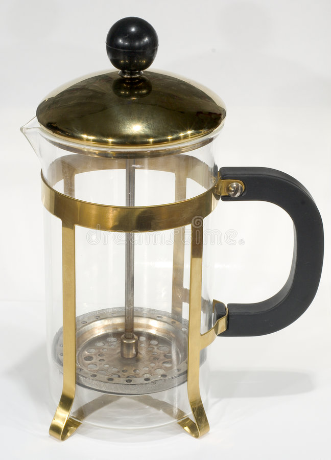 белизна чайника плунжера стоковая фотография