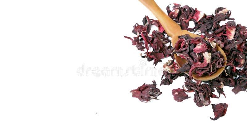 белизна чая предпосылки изолированная hibiscus Чай гибискуса в деревянной ложке на белой предпосылке Чай витамина для холода и гр стоковые изображения