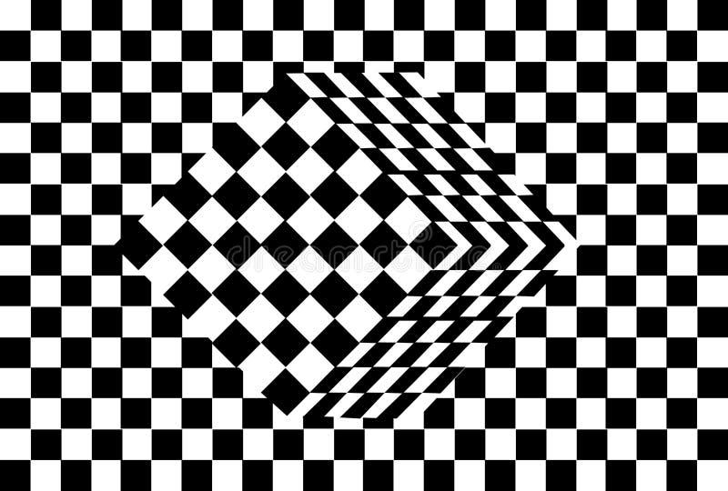 белизна черного иллюзиона кубика оптически иллюстрация штока