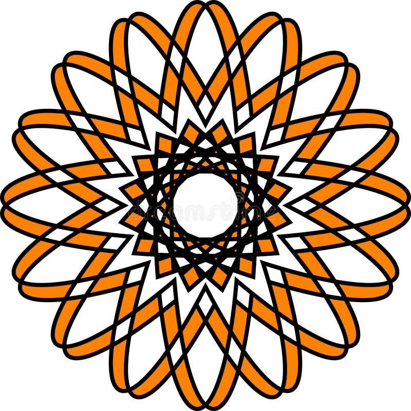 Белизна черноты апельсина искусства геометрического флористического дизайна конспекта предпосылки вектора картины мандалы восточн иллюстрация штока