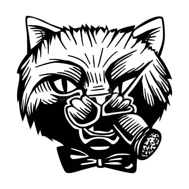 Белизна черноты вектора портрета характера кошачьего кота мафии гангстера уголовная иллюстрация вектора