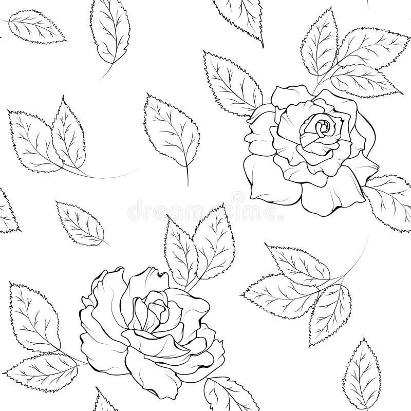 Белизна черноты листьев цветков безшовной картины розовая иллюстрация штока