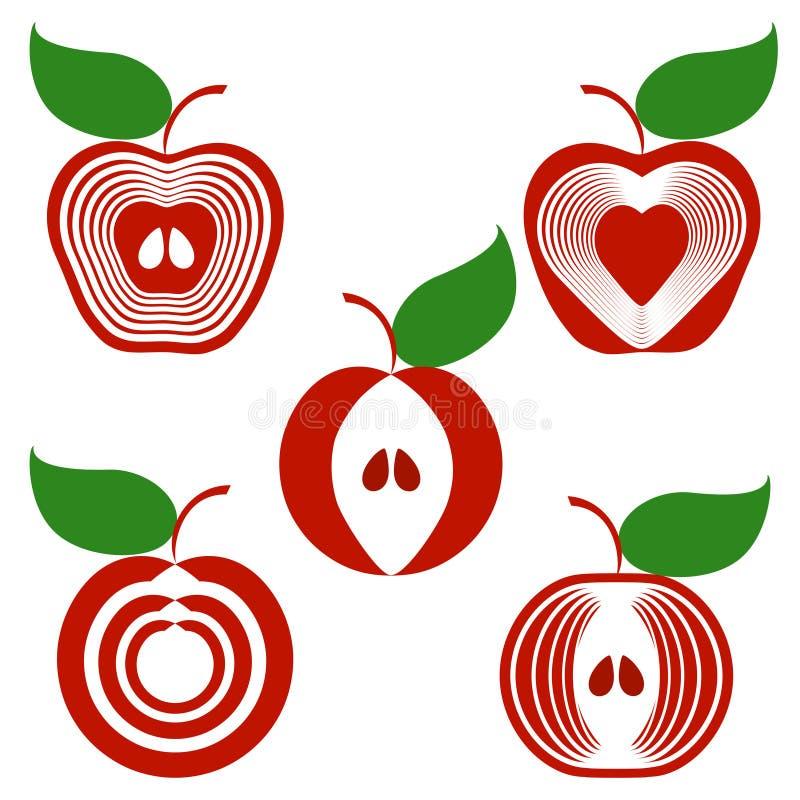 белизна яблок изолированная предпосылкой установленная иллюстрация штока