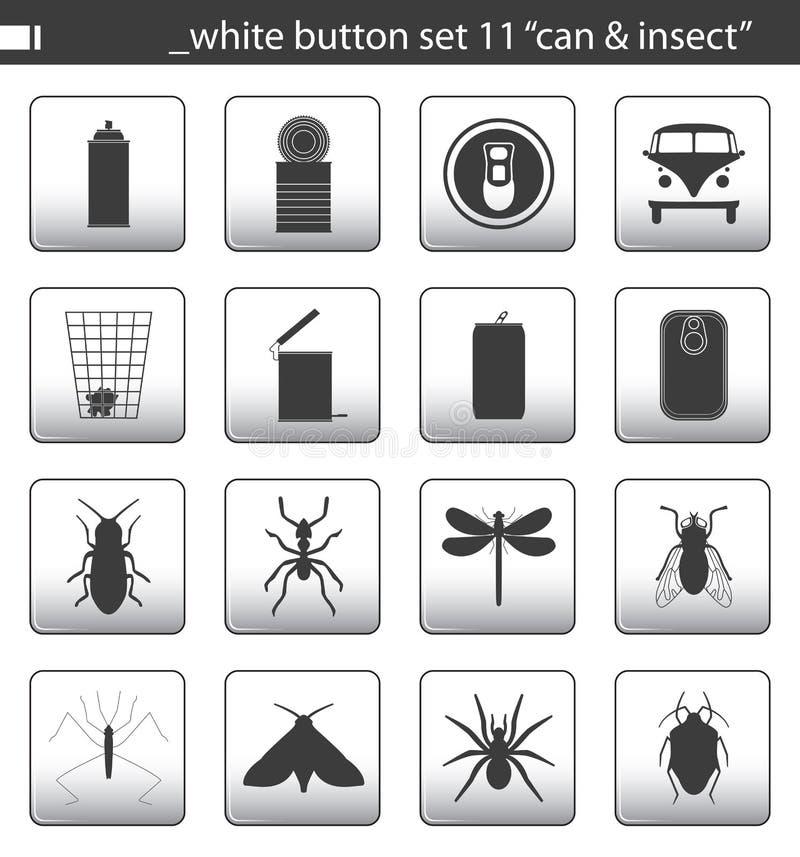 белизна 11 кнопки установленная иллюстрация штока