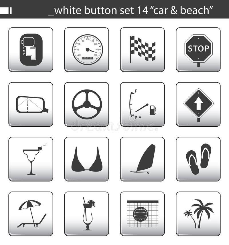 белизна 14 кнопок установленная бесплатная иллюстрация