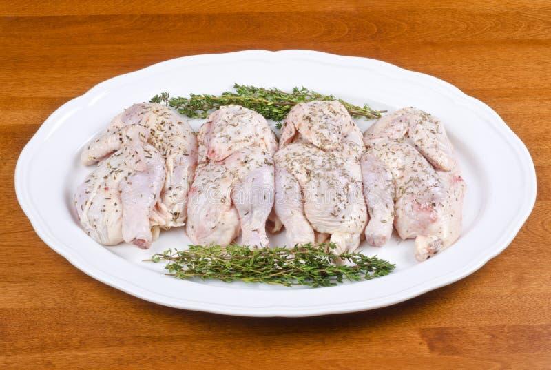 белизна cornish плиты курицы игры сырцовая стоковые изображения rf