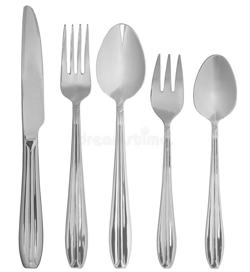 белизна cutlery предпосылки стоковое изображение