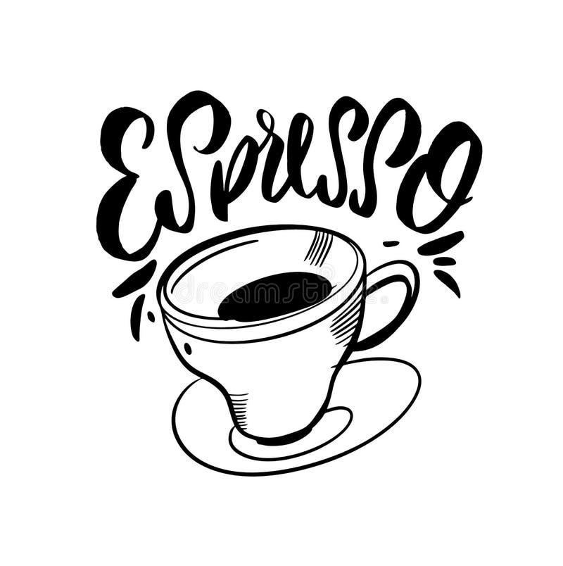 белизна espresso кофейной чашки Рукописные элементы дизайна литерности Шаблон дизайна для кафа, меню, кофейни, рекламы магазина,  бесплатная иллюстрация