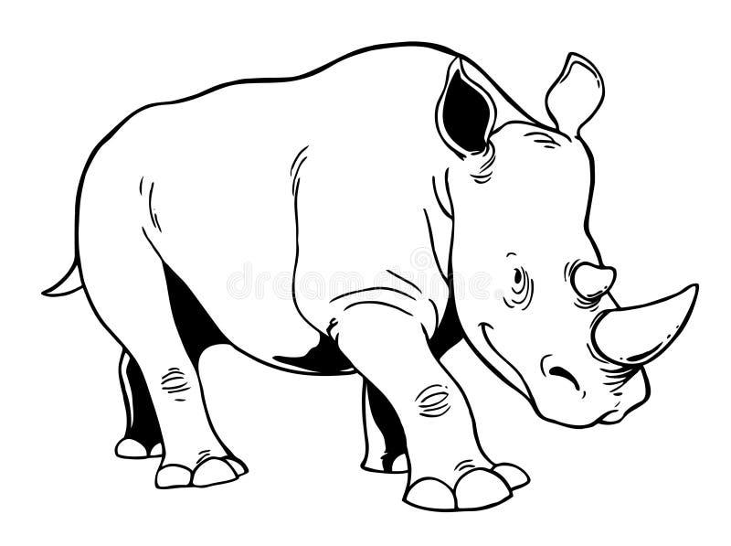 белизна rhinoceros иллюстрация вектора