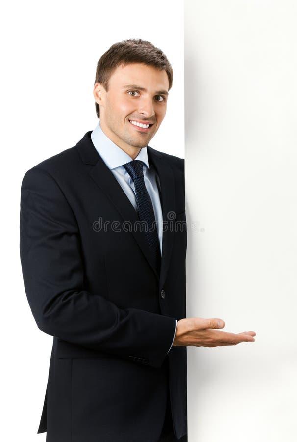 белизна signboard бизнесмена стоковое изображение
