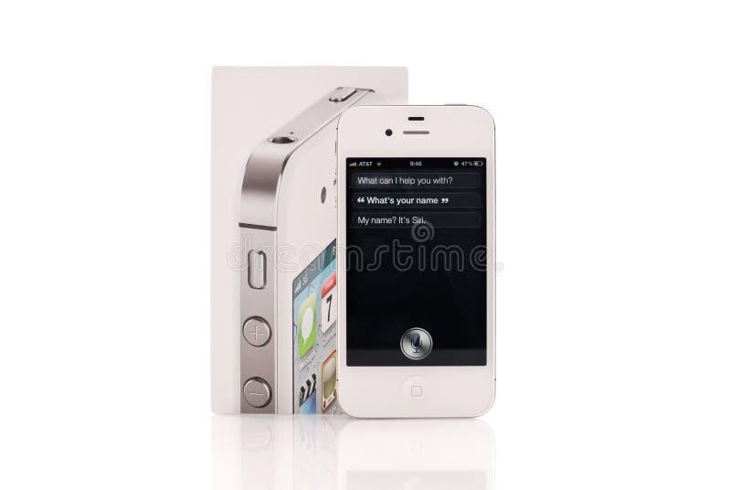 белизна siri iphone 4s идущая стоковые фото