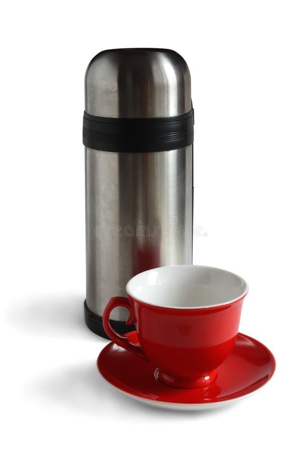 белизна thermos чая предпосылки изолированная крышкой стоковое изображение