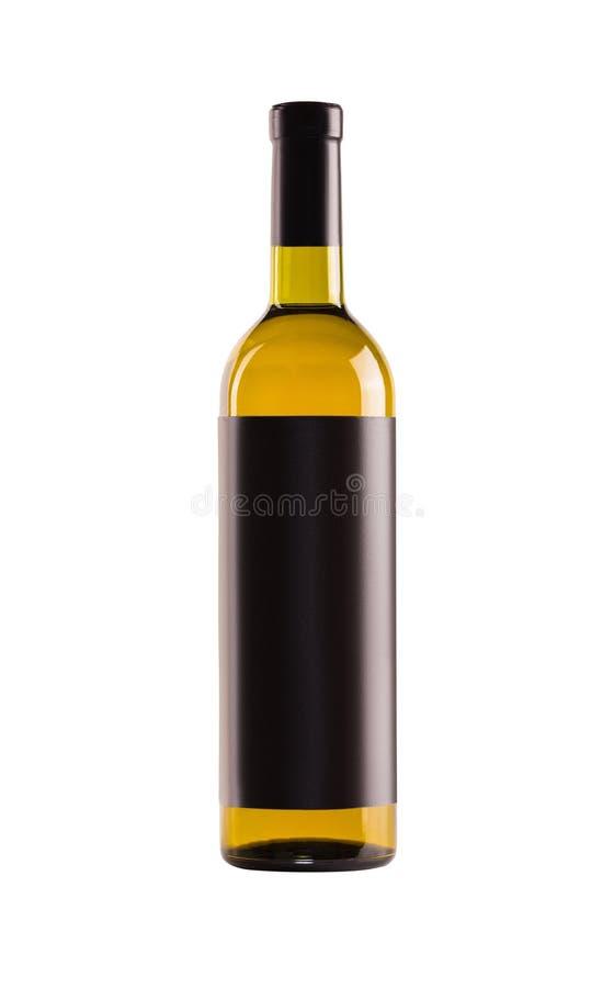 белое вино Бутылка желтого стекла стоковое изображение