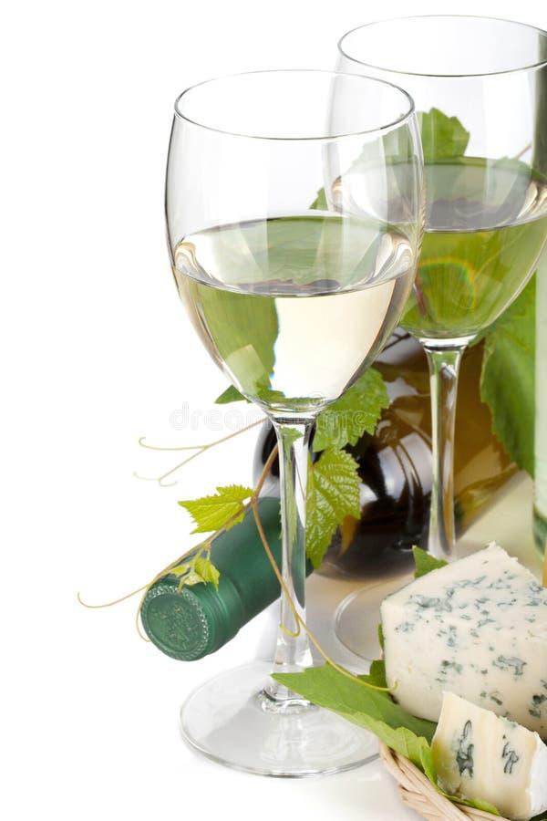 Белое вино и сыр стоковое фото rf