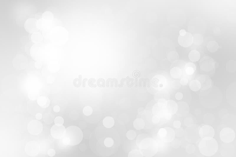 Белое и серое абстрактное рождество предпосылки bokeh и счастливое новое иллюстрация вектора