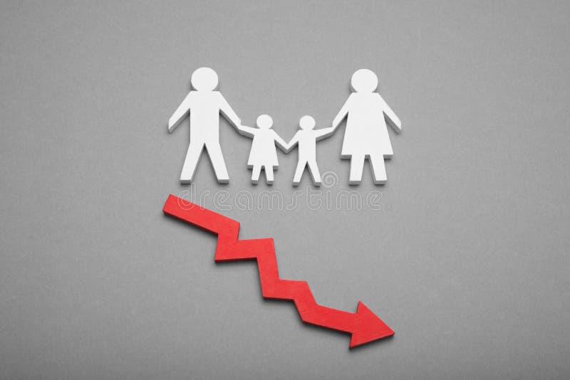 Белое падение народонаселения, спад рождаемости стоковое изображение rf