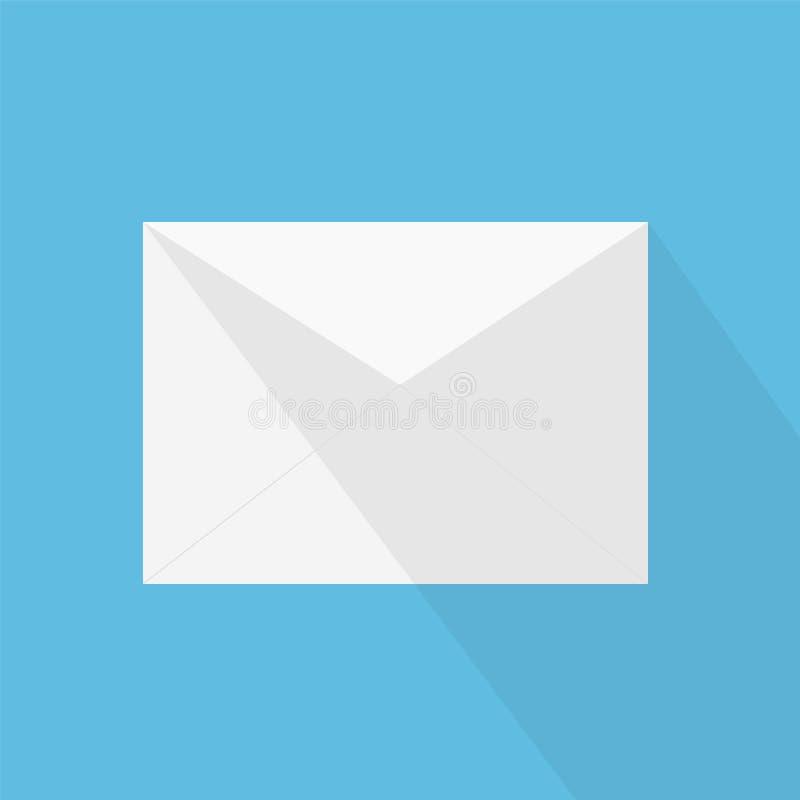Белое письмо с тенью, концепция конверта входящих mes электронной почты иллюстрация вектора