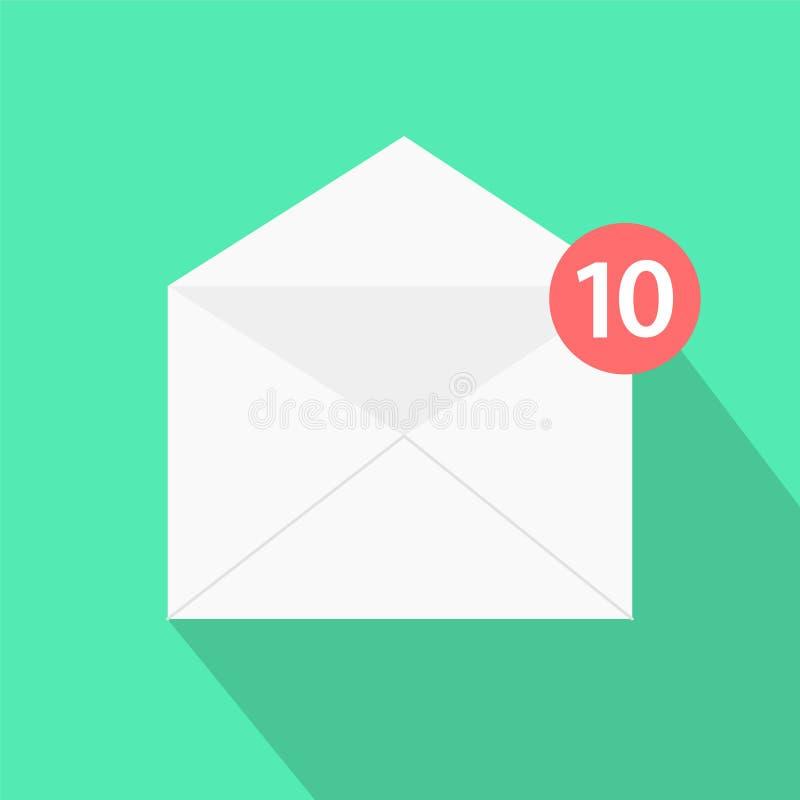 Белое письмо с тенью, концепция конверта входящих mes электронной почты бесплатная иллюстрация
