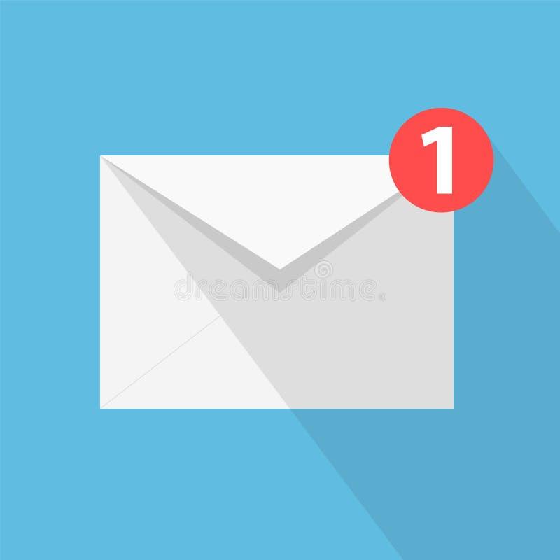 Белое письмо с тенью, концепция конверта входящих mes электронной почты иллюстрация штока