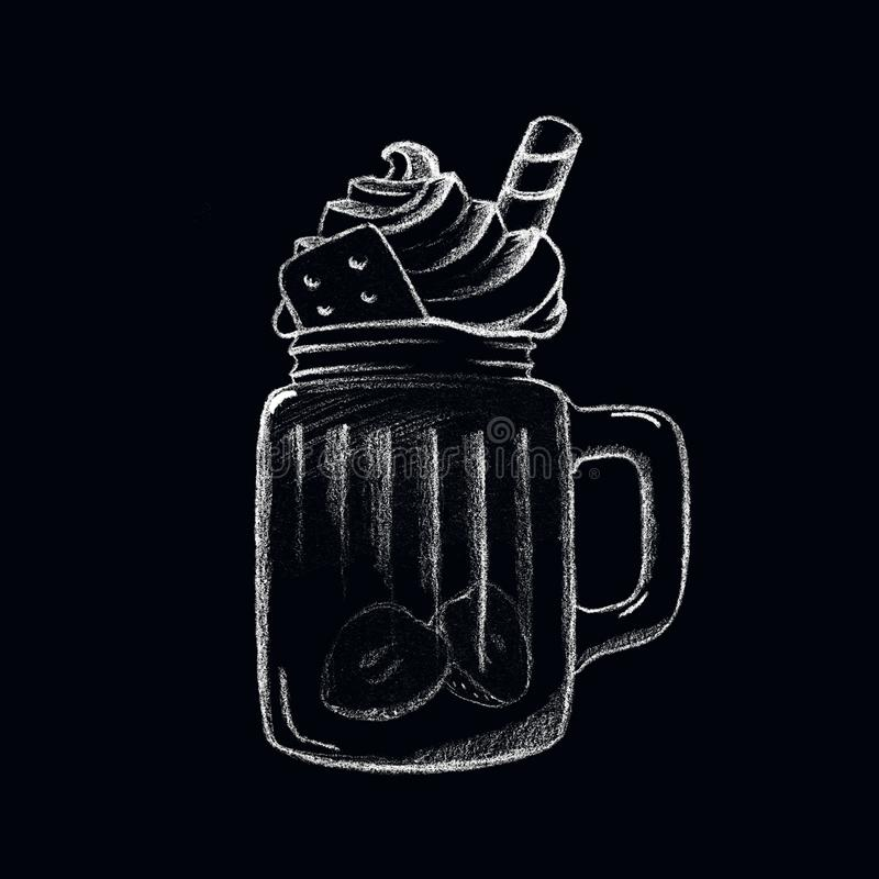 Белое питье кофе льда мела на классн классном Изолированная чашка питья Десерт в стеклянной чашке иллюстрация штока