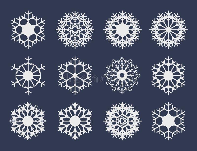 Белое собрание значков снежинки для вашего дизайна зимы иллюстрация штока