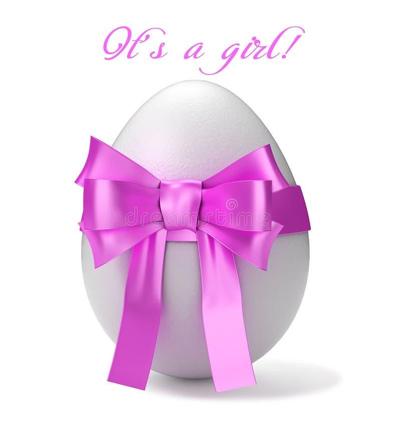 Белое яичко с розовым смычком и приветствие отправляют СМС иллюстрация 3d бесплатная иллюстрация
