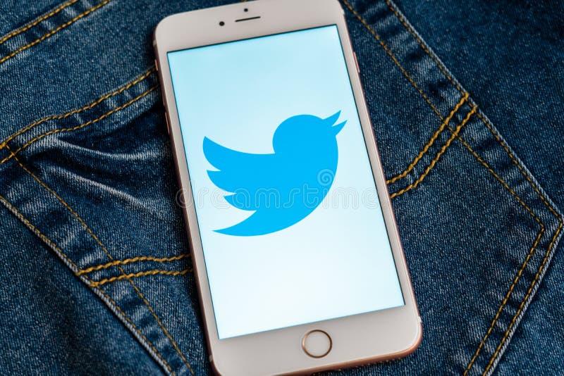 Белое iPhone с логотипом социальных средств массовой информации Twitter на экране r стоковое изображение