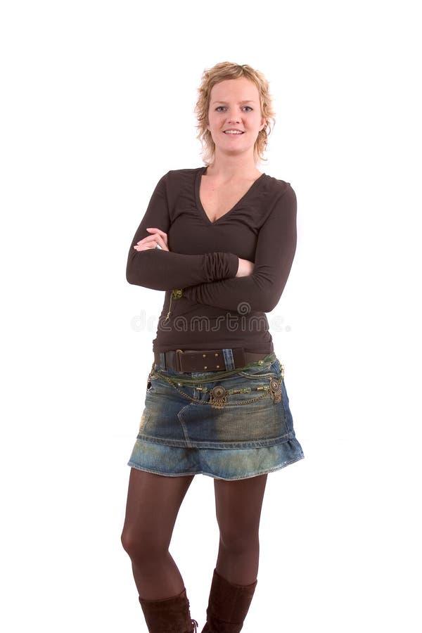 белокурая девушка довольно стоковое изображение rf