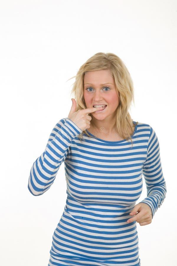 белокурая девушка смотря озадачен стоковое изображение