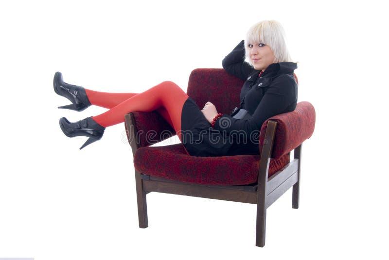 белокурая девушка стула мягкая стоковые изображения