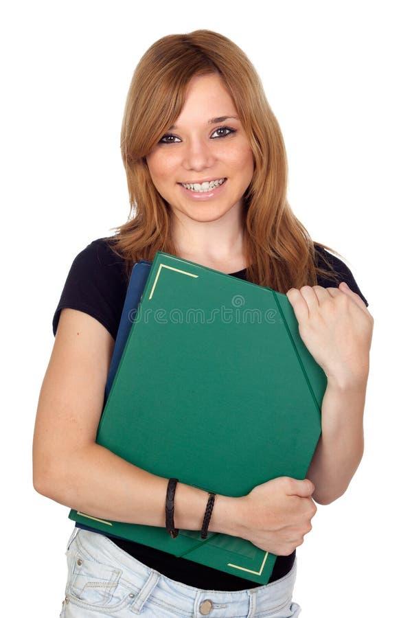Белокурая девушка университета стоковые фотографии rf