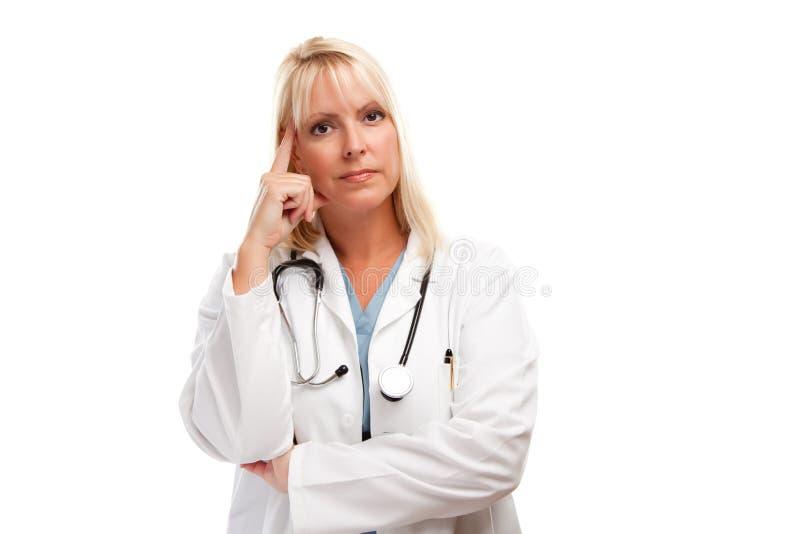 белокурая женщина доктора серьезная стоковые фотографии rf
