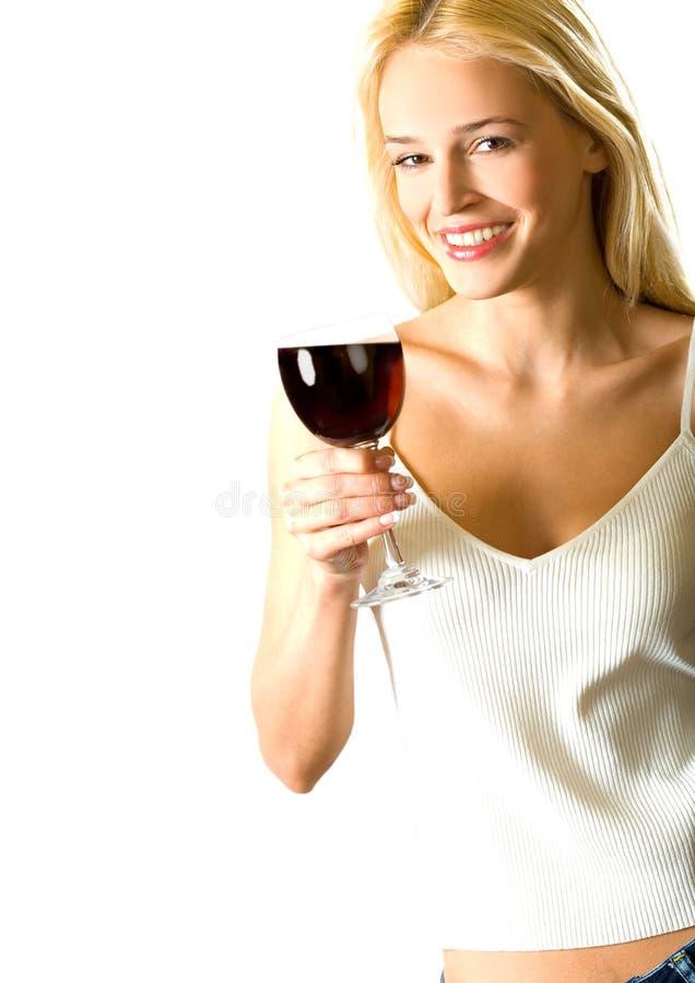 белокурая женщина красного вина стоковые изображения rf