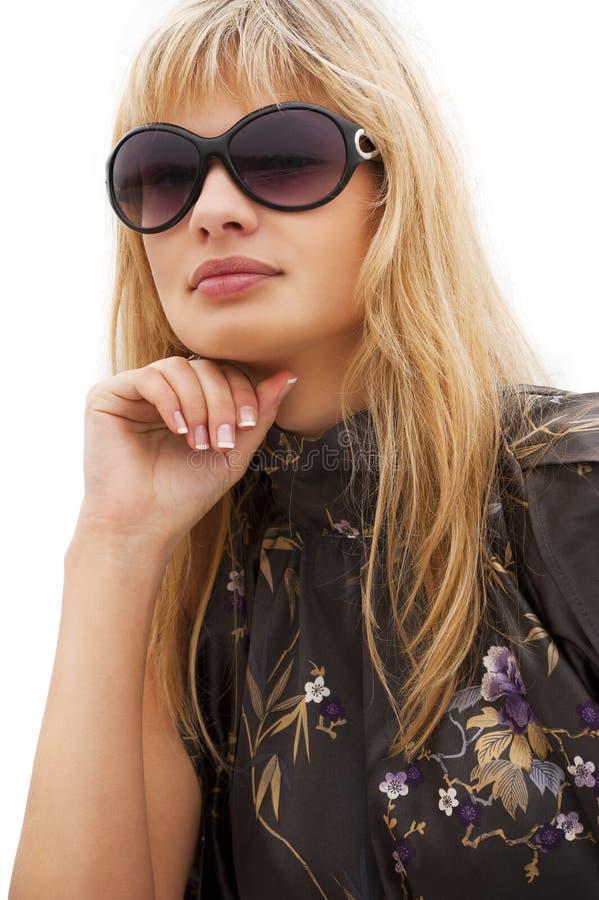 белокурая женщина солнечных очков стоковые фотографии rf