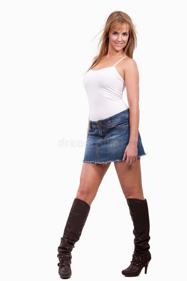 белокурая кавказская милая женщина двадчадк стоковое фото