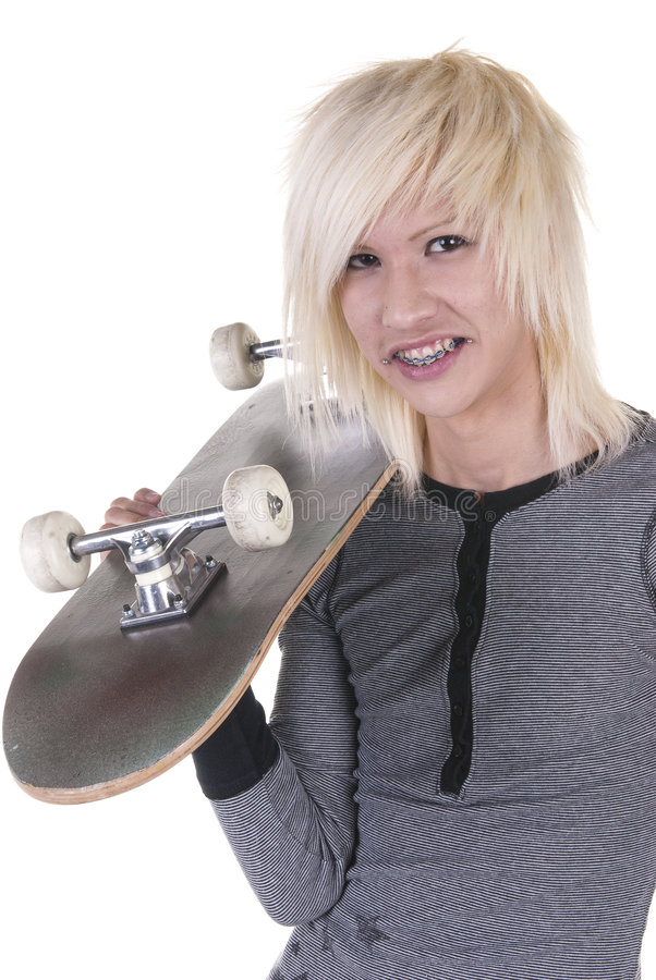 белокурая молодость скейтбордиста стоковое изображение