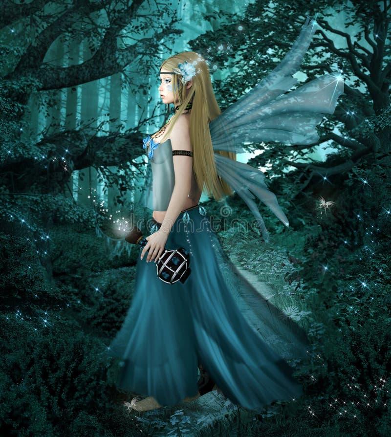 Белокурая фея идя в полесье фантазии иллюстрация штока