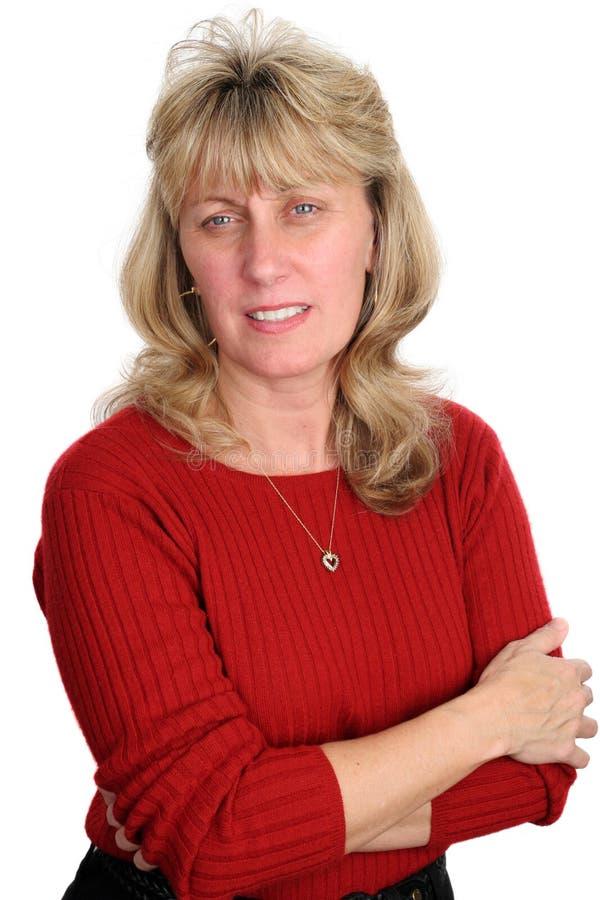 белокурая concerned женщина стоковое фото rf