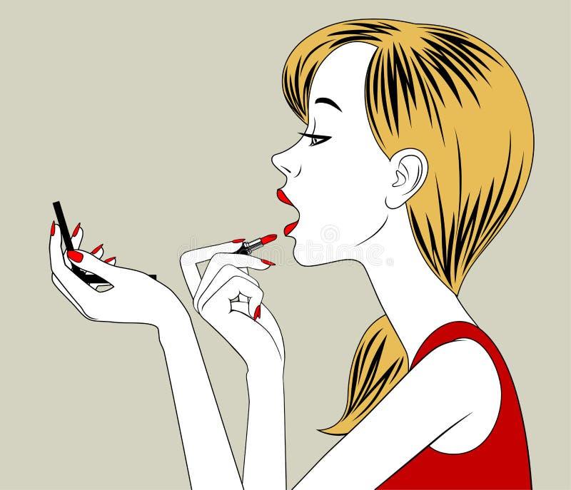 Белокурые губы румян полу-стороны девушки с красной губной помадой в руке иллюстрация вектора