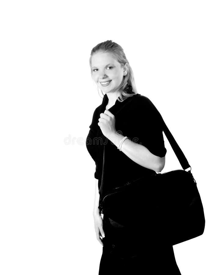 белокурые детеныши женщины портфеля стоковое изображение rf