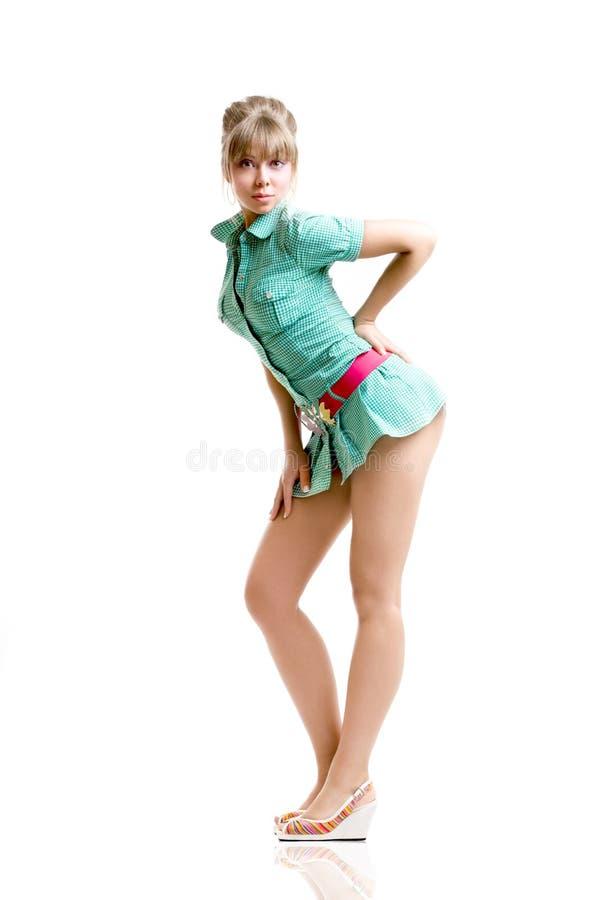 белокурый зеленый цвет платья стоковые фотографии rf