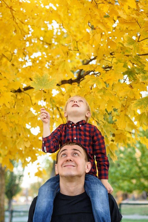 Белокурый мальчик в рубашке шотландки сидит на плечах его отца Посмотрите вверх Концепция осени стоковое изображение