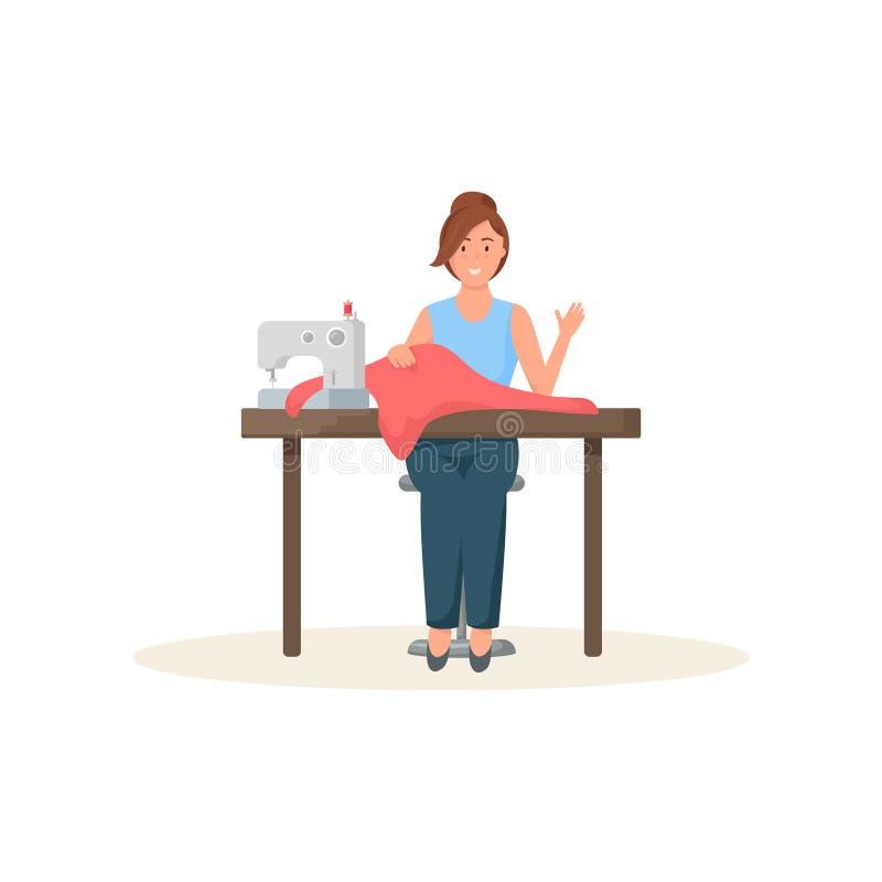 Белошвейка сидя на швейной машине и приветствуя изолированного телезрителя на белой предпосылке иллюстрация вектора