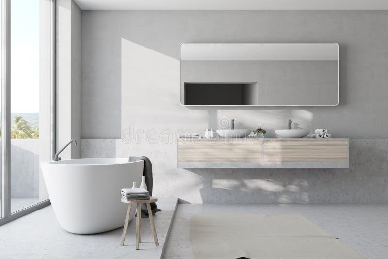 Белые ванная комната, ушат и раковина иллюстрация штока