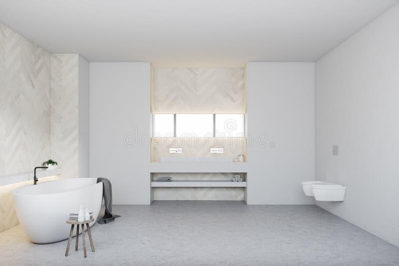 Белые деревянные ванная комната и туалет, круглый ушат иллюстрация вектора