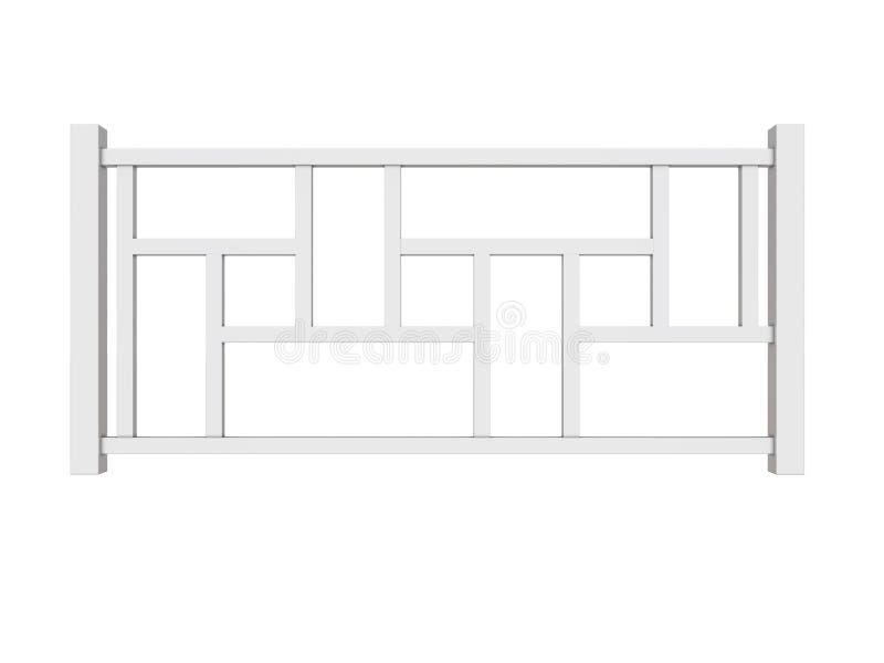 Белые деревянные перила с деревянным переводом балясин 3d иллюстрация штока