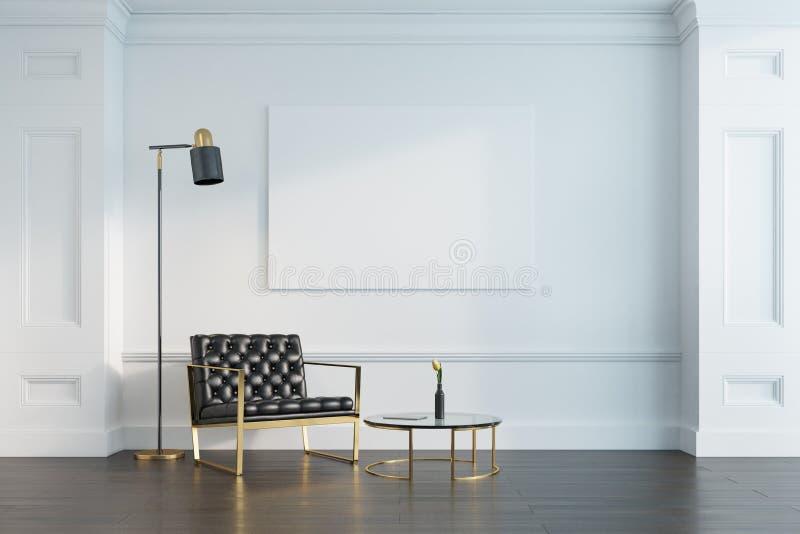 Белые живущая комната, кресло и плакат стоковые изображения